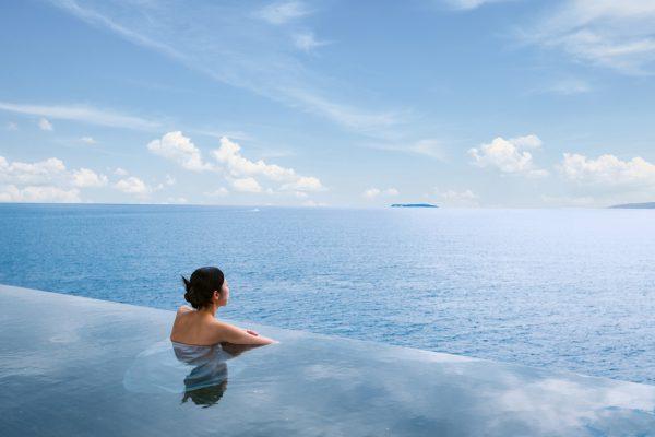 「スパリウムニシキ」露天風呂からの眺め
