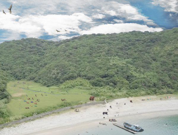 初島漁港から7分で到着する無人島