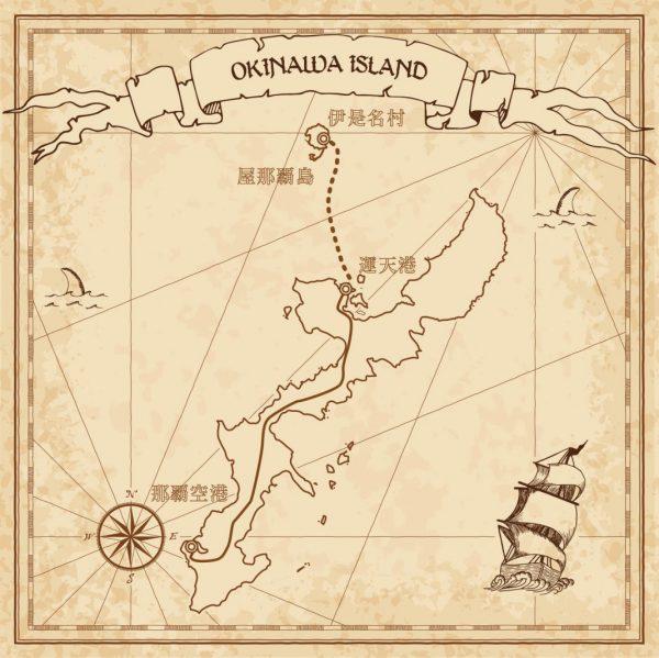 沖縄と屋那覇島の地図
