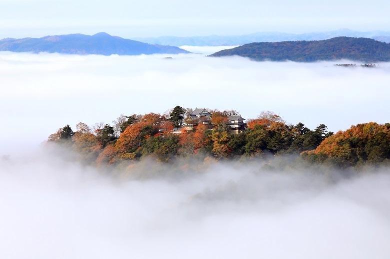 雲海の中にたたずむ備中松山城